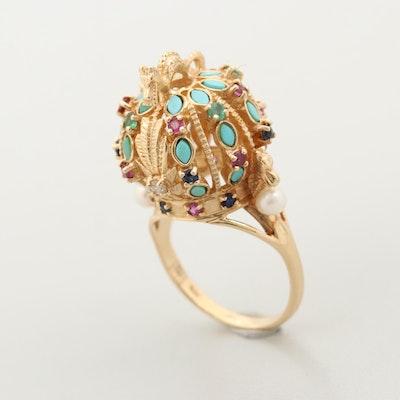 Vintage Franklin Mint 14K Gold Diamond and Gemstone Ming Dynasty Crown Ring