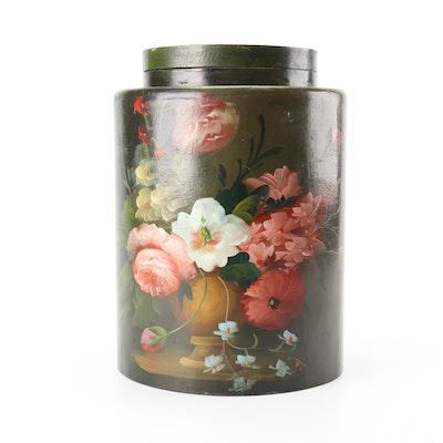 Hand-painted Wood Lidded Jar