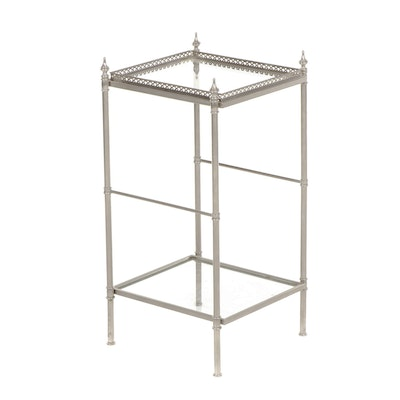 Contemporary Two Tier Glass and Metal Side Table