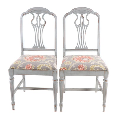 Pair of Upholstered Dining Chairs, Vintage