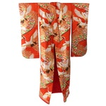 Red Crane and Foliate Uchikake with Metallic Embroidery