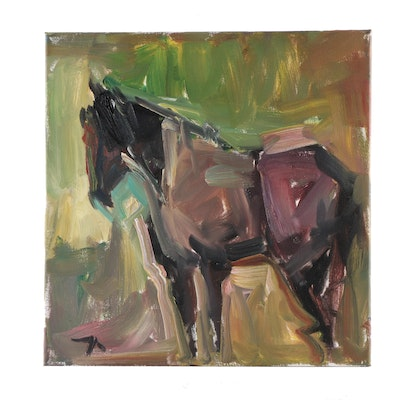 """Jose Trujillo 2019 Oil Painting """"The Brown Horse"""""""