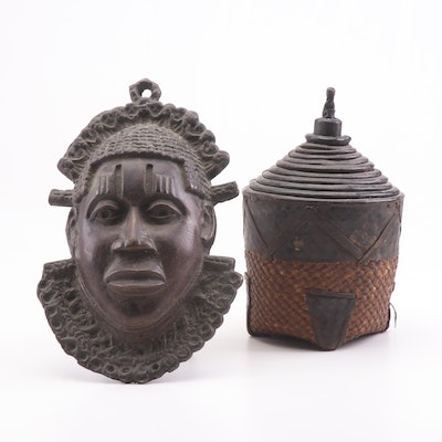 Benin Style Brass Mask and West African Nesting Baskets