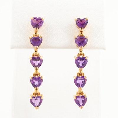 14K Yellow Gold Amethyst Heart Dangle Earrings