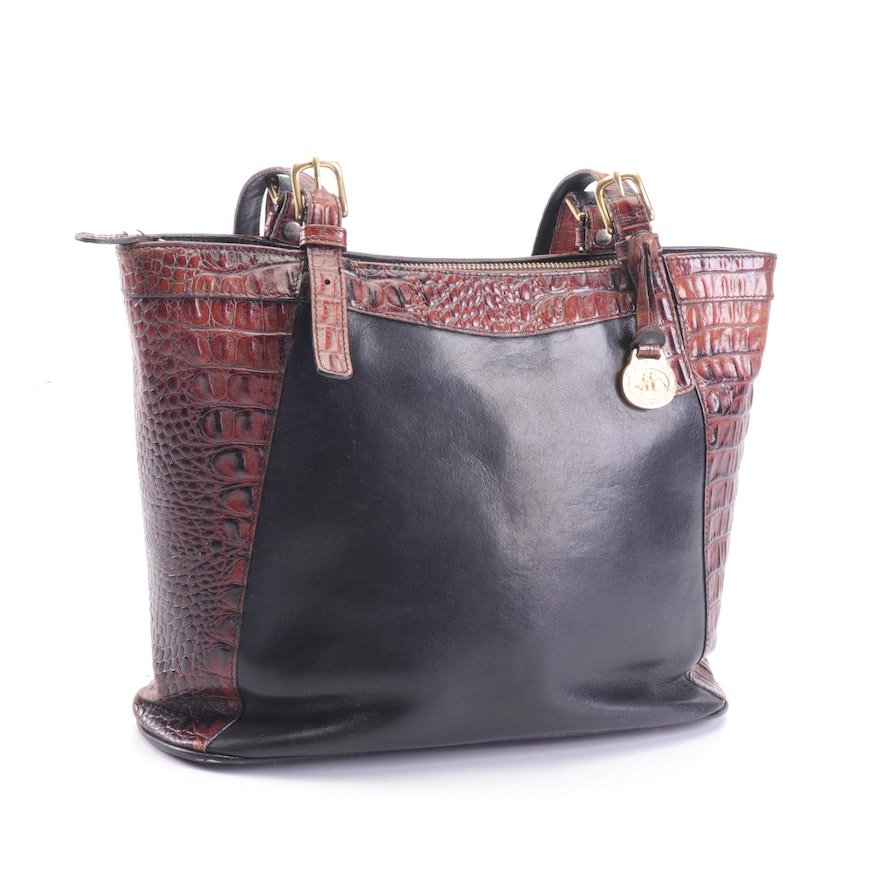 Two Tone Leather Tote Shoulder Bag