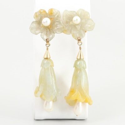 14K Yellow Gold Jadeite and Cultured Pearl Dangle Floral Earrings