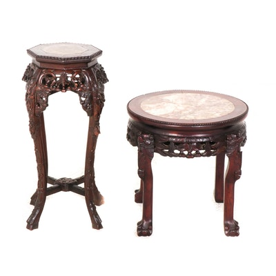 Chinese Hand Carved Marble Inlay Hardwood Jardiniere Stand & Side Table
