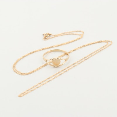 10K Yellow Gold Necklace and Heart Ring