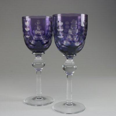 Amethyst Cut to Clear Crystal Wine Glasses