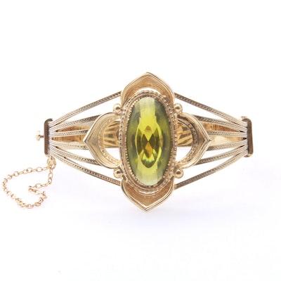 Whiting and Davis Gold-Tone Hinge Bracelet