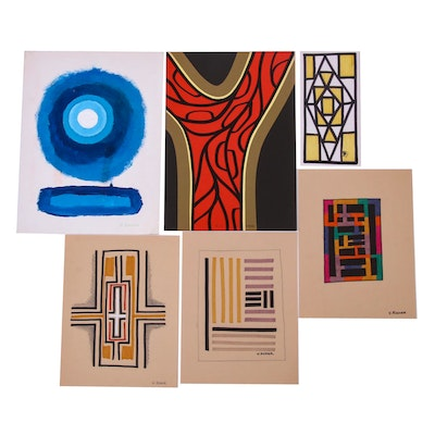 Vernon Rader Abstract Drawings and Painting
