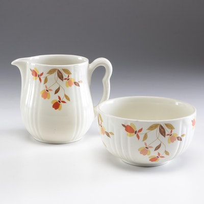 """Hall """"Autumn Leaf"""" Pitcher and Radiance Bowl, Mid-Century"""
