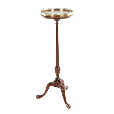 George II Style Brass-Mounted Mahogany Tripod Pedestal, Late 20th Century