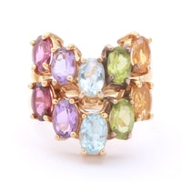 Goldwash on Sterling Silver Multi Gem Rings
