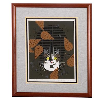 """Charley Harper Serigraph """"Birdwatcher"""""""
