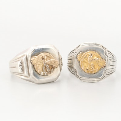 Sterling Silver Ruptured Duck Rings With Gold Wash Accents