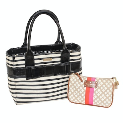Kate Spade New York Striped Tote with Bow and Small Shoulder Bag