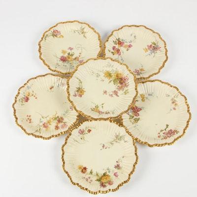 Royal Worcester Blush Ivory Porcelain Salad Plates, 1896