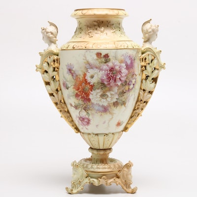 RW Rudolstadt Gilt Embossed Urn with Woman's Bust on Handles, Antique