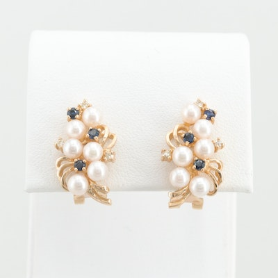 14K Yellow Gold Cultured Pearl, Sapphire, and Diamond Drop Earrings