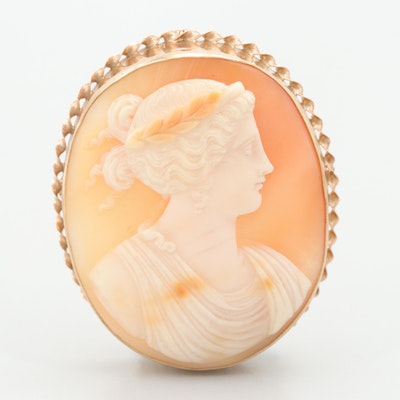 Vintage 10K Yellow Gold Helmet Shell Carved Cameo Converter Brooch