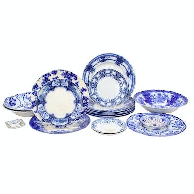 W. Adams & Co., Upper Hanley and Other Flow Blue Porcelain Transferware