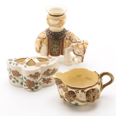 Royal Worcester Porcelain Bough Vase, Candlestick and Creamer, Late 19th Century