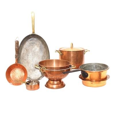 Vintage Copper Pots, Pans, Measuring Cups and Strainer Including Paul Revere