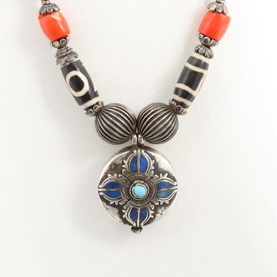Tibetan Dzi Eye of Buddha Sterling Silver Lapis Lazuli Prayer Beads