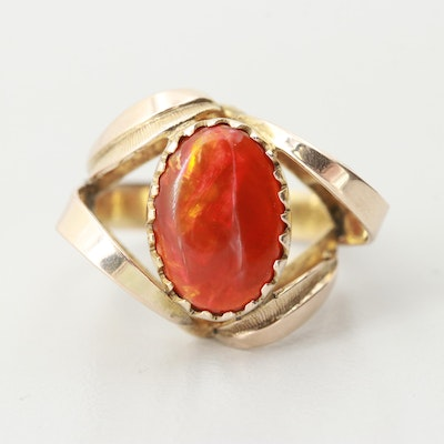 10K Yellow Gold Fire Agate Ring