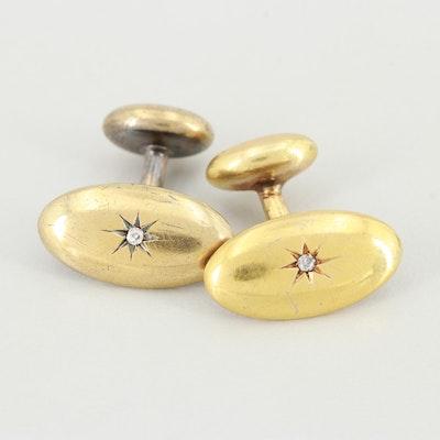 Late Victorian 14K Yellow Gold Diamond Cuff Links