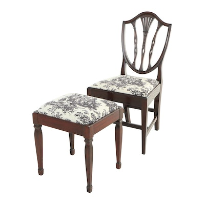 Potthast Bros., Federal Style Mahogany Side Chair Plus Stool, 20th Century