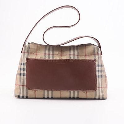 """Burberry Coated Canvas """"Haymarket Check"""" Shoulder Bag"""