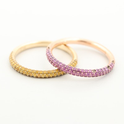 14K Yellow and Rose Gold Pink and Yellow Sapphire Stack Rings