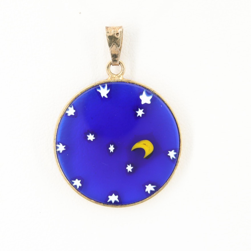 Antica Murrina Veneziana Gold Wash on Sterling Silver Fused Glass Pendant