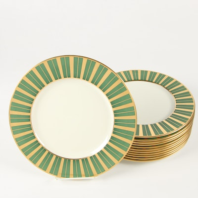 Lenox Green and Gold Striped Bone China Dinner Plates, 1906–1930