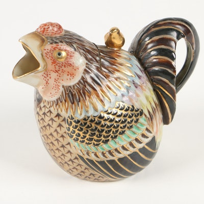 Hand Painted Porcelain Chicken Creamer, Early 20th Century