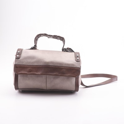 Sportmax Two-Tone Leather Satchel with Crossbody Strap, Made in Italy