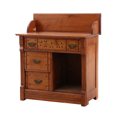 Victorian Carved Maple Washstand, Late 19th/Early 20th Century