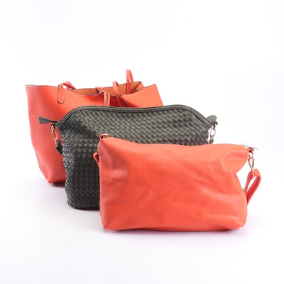 Simona Calla Pebbled and Woven Leather Totes and Shoulder Bags