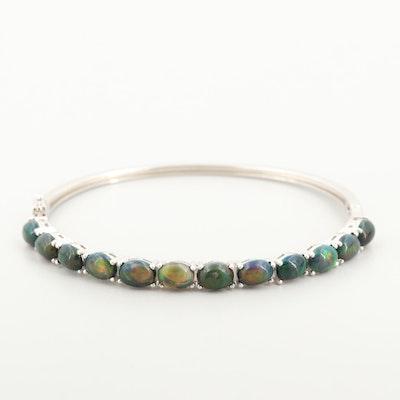Sterling Silver Opal Hinged Bangle Bracelet
