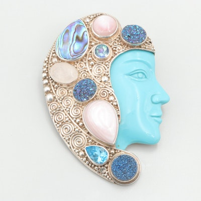 Sajen Sterling Silver Abalone, Mother of Pearl, Turquoise Converter Brooch