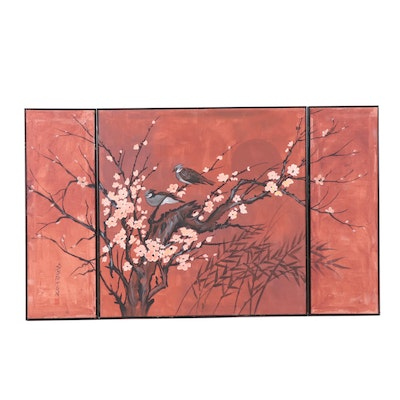 East Asian Inspired Acrylic Triptych Painting