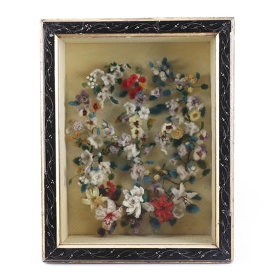 Felted Wool Floral Shadow Box, Early to Mid 20th Century