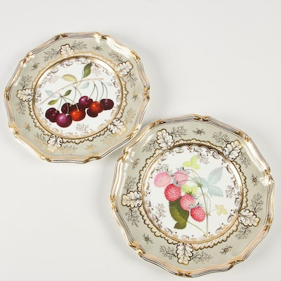 """Davenport """"Cherry"""" and """"Raspberry"""" Porcelain Luncheon Plates, Late 19th Century"""
