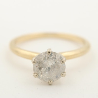 14K Yellow Gold 1.30 CT Diamond Solitaire Ring