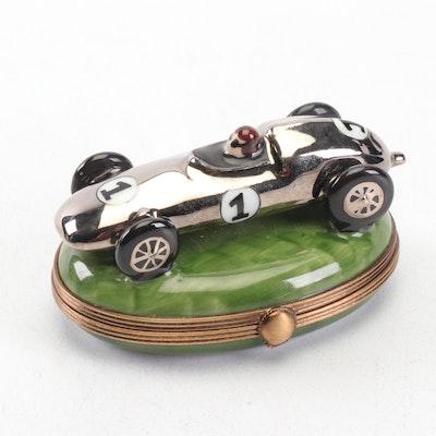 La Gloriette Limoges Porcelain Racing Car Trinket Box