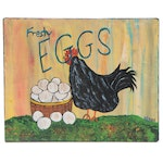 "Keno Acrylic Painting of Rooster ""Fresh Eggs"""