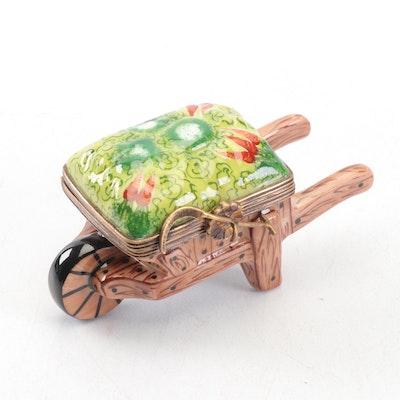 Hand-Painted Limoges Porcelain Wheelbarrow Trinket Box