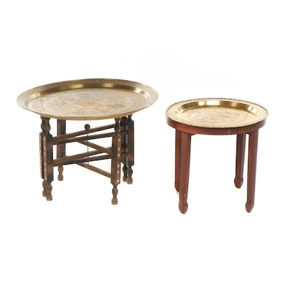 Folding Moroccan Style Brass Tray Table With Small Bird Motif Tray Table
